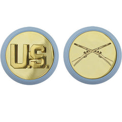 Army Enlisted Branch of Service Collar Device: U.S. and Infantry - blue disc