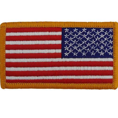 Flag Patch: United States of America - hook closure gold edge reversed