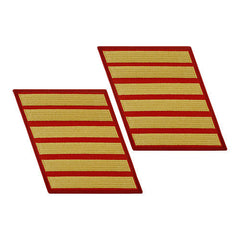 Marine Corps Service Stripe: Female - gold on red, set of 6