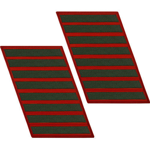 Marine Corps Service Stripe: Male - green embroidered on red, set of 8