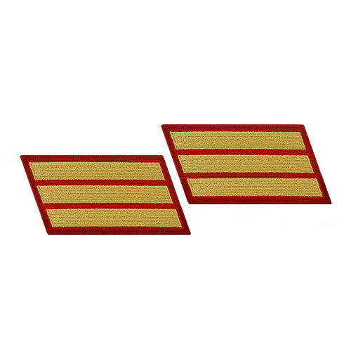 Marine Corps Service Stripe: Female - gold on red, set of 3