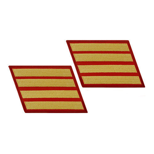 Marine Corps Service Stripe: Female - gold on red, set of 4