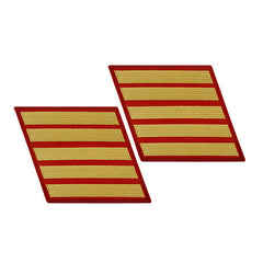 Marine Corps Service Stripe: Female - gold on red, set of 5