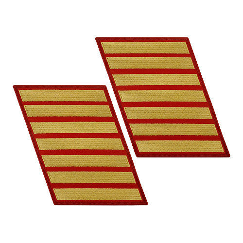 Marine Corps Service Stripe: Female - gold on red, set of 7