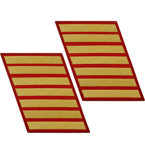 Marine Corps Service Stripe: Male - gold embroidered on red, set of 7