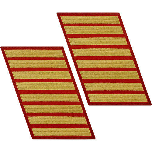 Marine Corps Service Stripe: Male - gold embroidered on red, set of 8