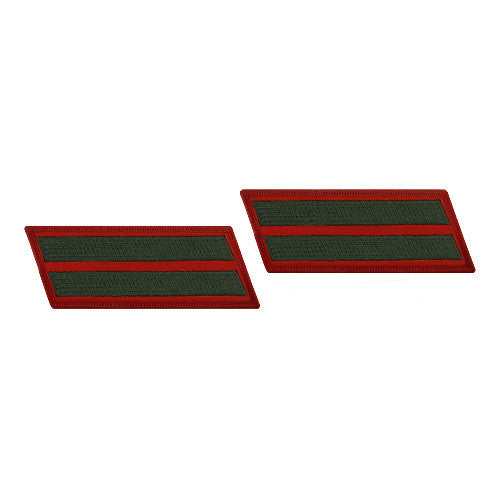 Marine Corps Service Stripe: Female - green on red, set of 2