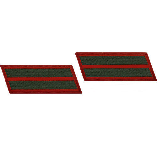 Marine Corps Service Stripe: Male - green embroidered on red, set of 2
