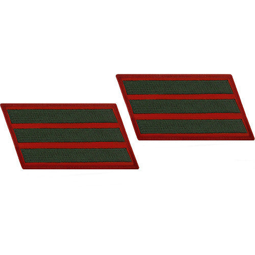Marine Corps Service Stripe: Male - green embroidered on red, set of 3