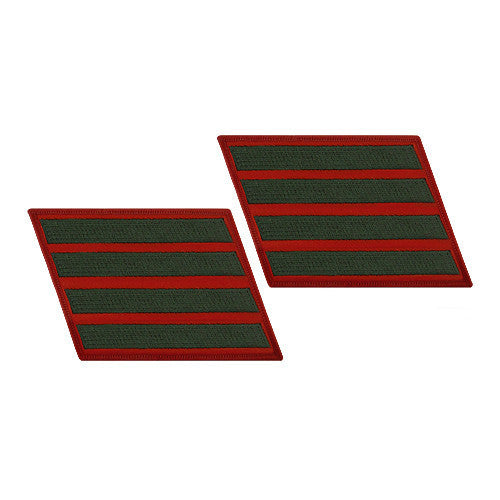Marine Corps Service Stripe: Female - green on red, set of 4
