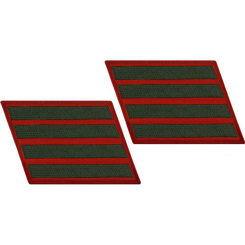 Marine Corps Service Stripe: Male - green embroidered on red, set of 4