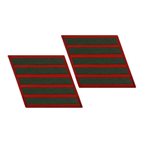 Marine Corps Service Stripe: Female - green on red, set of 5