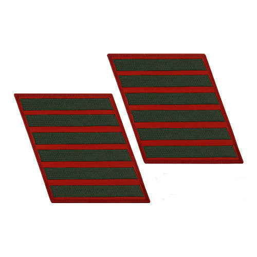 Marine Corps Service Stripe: Female - green on red, set of 6
