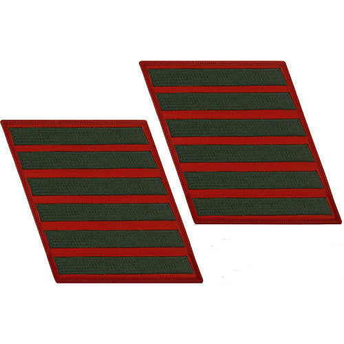 Marine Corps Service Stripe: Male - green embroidered on red, set of 6