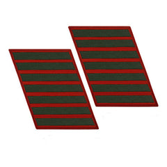 Marine Corps Service Stripe: Female - green on red, set of 7