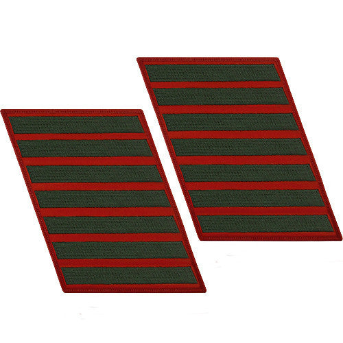 Marine Corps Service Stripe: Male - green embroidered on red, set of 7