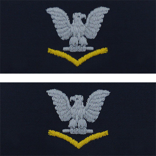 Navy Embroidered Collar Device: E4 Third Class - silver gold on coverall