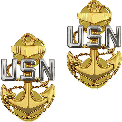 Navy Collar Device: E7 Chief Petty Officer - clutch back