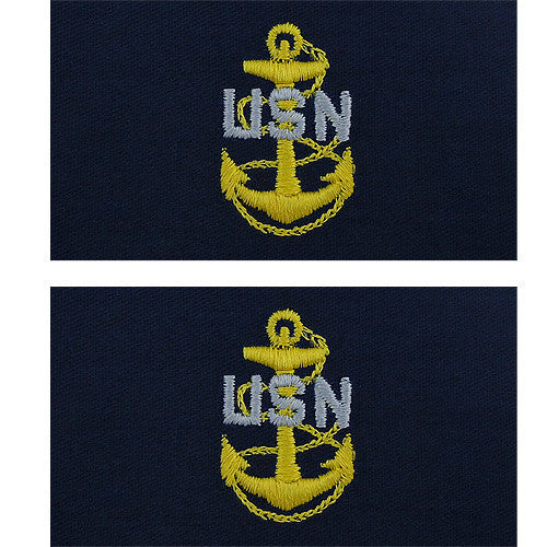 Navy Embroidered Collar Device: E7 CPO - embroidered on coverall