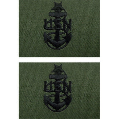 Navy Embroidered Collar Device: E8 CPO: Senior - embroidered on subdued (NON-RETURNABLE)