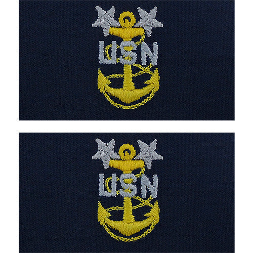 Navy Embroidered Collar Device: E9 CPO: Master - embroidered on coverall