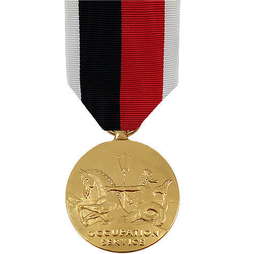 Full Size Medal: Navy and Coast Guard WWII Occupation - 24k Gold Plated