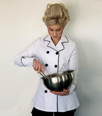 Jenny Chef Coat -black piping contrast