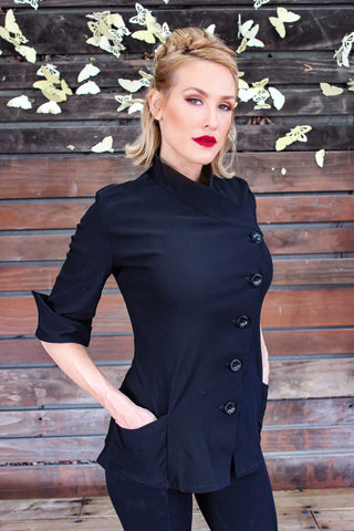 Yasmeen Chef Coat in Black