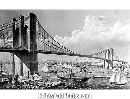 Currier & Ives Brooklyn Bridge Print 1058