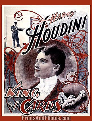 HARRY HOUDINI King of Cards Great Print 1098