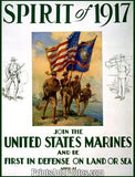 WWI Spirit 1917 Join Marines War Print 1248