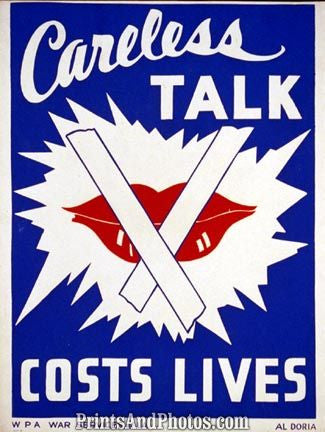 WWII Careless Talk Costs Lives Print 1338