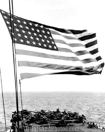 WWII US NAVY  of Flag on Carrier 1371