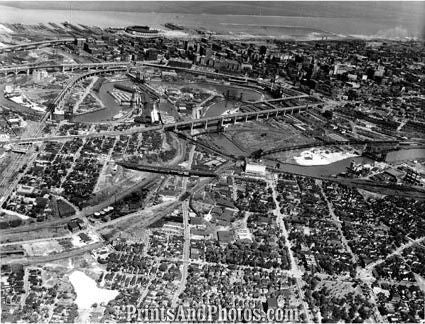 CITY Cleveland 1950s AERIAL  1696