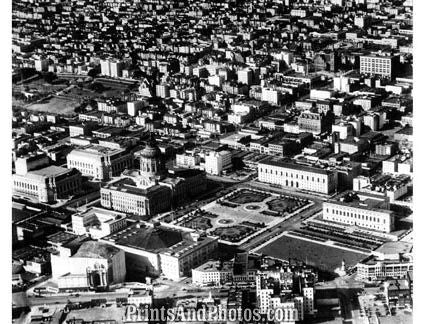 San Francisco 50s Aerial  City Hall 1756