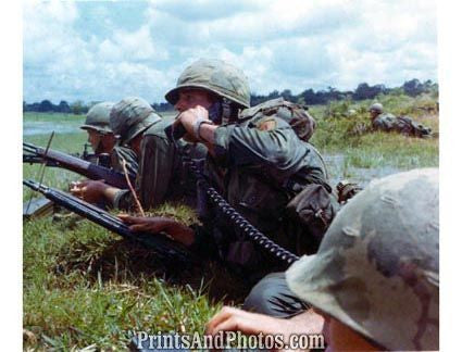 Vietnam Soldiers Lie Down Field  2487