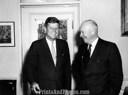 John F Kennedy & Ike Laughing  2772