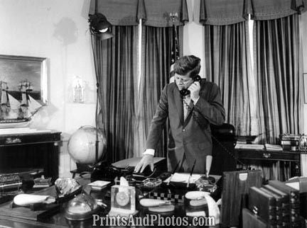 John F Kennedy  on Phone Standing 2805