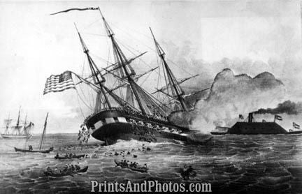 Civil War Cumberland Sinks Newport News 3020