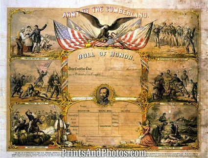 Civil War Cumberland Roll of Honor  3244