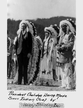 Pres Coolidge Is Made Sioux Chief  3251