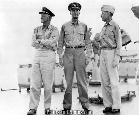 Admiral Nimitz & Officers On Ship  3301