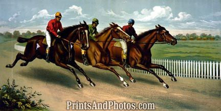 Three Men HORSE RACING  3649