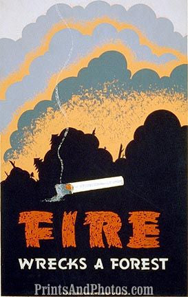VINTAGE Forest Fire Ad 3760