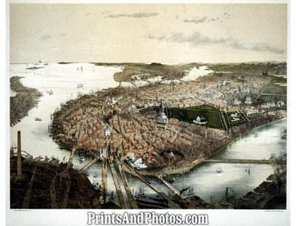 Historical Aerial Boston Print  4548