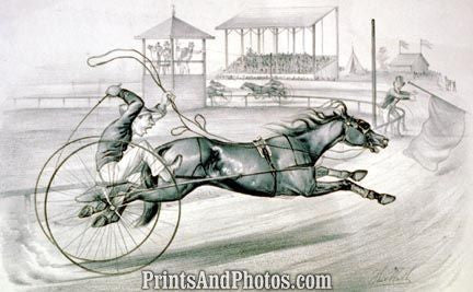 Distanced Horse Racing Print  4589