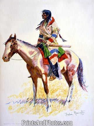Indian on Horseback Color Drawing  4624