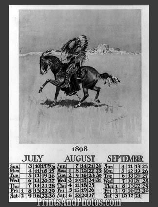 1898 Calendar Cheyenne Chief  5409 - Prints and Photos
