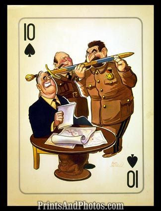 Caricature FDR Stalin Churchill 6066