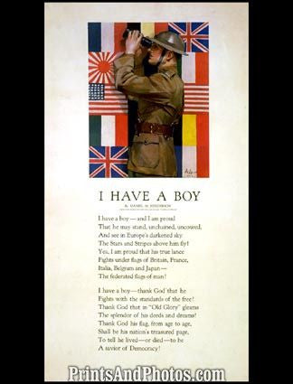 I Have a Boy Poem War Print 6099